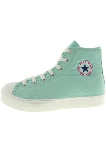 Maxstar 綠色 新款韩国鞋C1-7H時尚帆布布混合女浅蓝色 US Women Size MA345SH24HDVTW_1