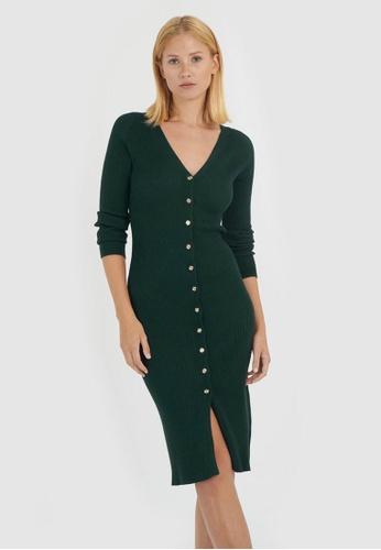 FORCAST green Rivera Button Up Knit Dress E07E5AAC847A22GS_1