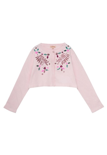 Du Pareil Au Même (DPAM) pink Sequin Cardigan 7FD8FKAFBA1291GS_1