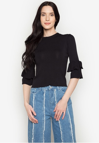 Chloe Edit black Top With Ruffled Sleeves CH672AA0JS59PH_1