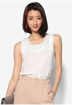 Sleeveless Blouse with Embellished Neckline