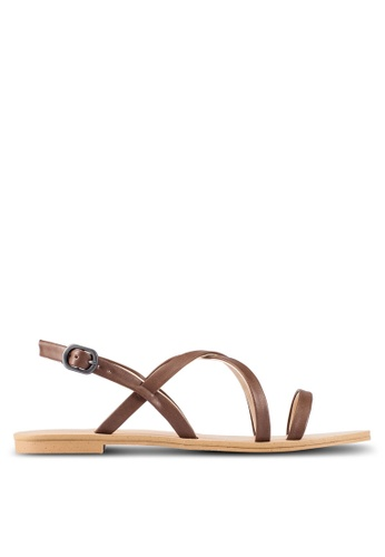 ZALORA brown Faux Leather Multi Strap Sandals 0FBB6SH40CC368GS_1