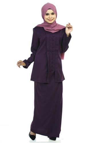 Ashura purple Jahanara Kutu Baru With Front Pleated Skirt 7EE9AAADA0C924GS_1