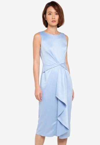 Dorothy Perkins blue Pale Blue Satin Dress BE991AADD7FB68GS_1
