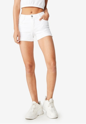 Cotton On white Mid Rise Classic Stretch Denim Shorts E7831AA92154A9GS_1