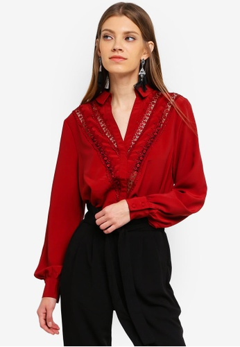 ONLY red Christine L/S Lace Shirt FA1B5AA2F670C8GS_1