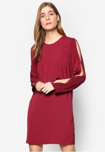 WAREHOUSE purple Diamante Button Sleeve Dress WA653AA49YMWMY_1