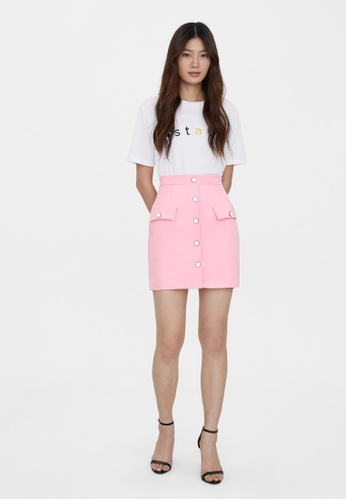 Pomelo pink Twin Pocket Button Detail Skirt - Pink E0A2AAAB8E27F0GS_1