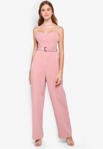 Forever New pink Sahara Belted Jumpsuit B3E1BAAEA461FCGS_1