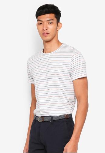 ESPRIT white Striped Short Sleeve T-Shirt 29882AAEA2082DGS_1