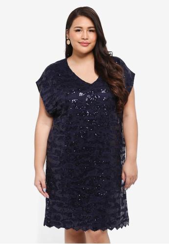 Goddiva navy Plus Size Sequin & Lace Shift Dress F639FAAC252595GS_1