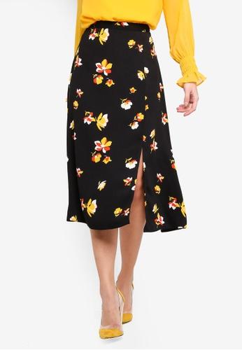 37252ef9cc Dorothy Perkins black Black Floral Print Split Midi Skirt C3C4BAA31DCAECGS_1