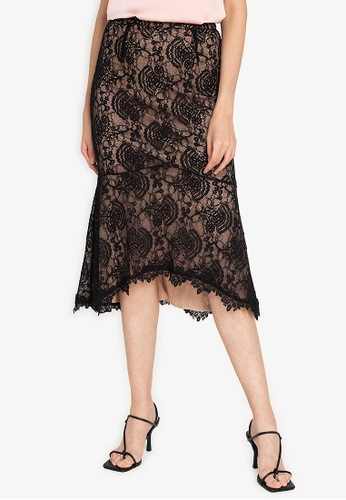 ZALORA OCCASION black Corded Lace Skirt 92EAEAA66A6973GS_1