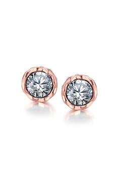 Korina Rose Gold Plated Earrings (Silver Stone)