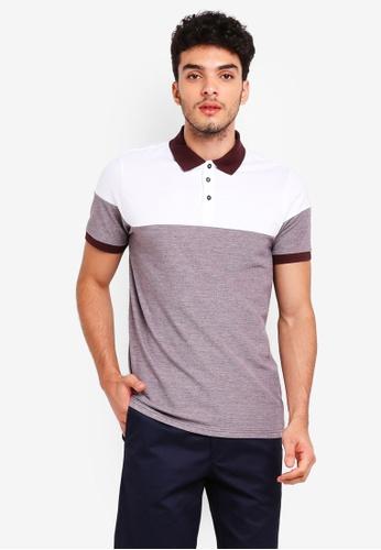 Burton Menswear London 紅色 Burgundy And White Cut And Sew Polo Shirt 733F2AA5413A60GS_1