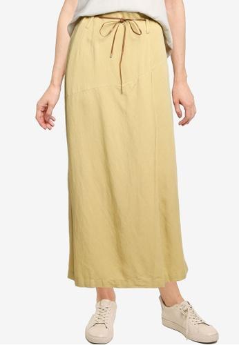 LOWRYS FARM yellow Tie Detail Midi Skirt 6A85AAAB61F3F1GS_1