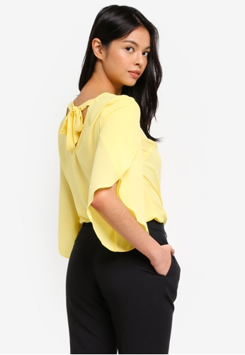 Dorothy Perkins yellow Lemon Tie Back Wrap 3/4 Sleeve Top 2A21EAA9541A48GS_1
