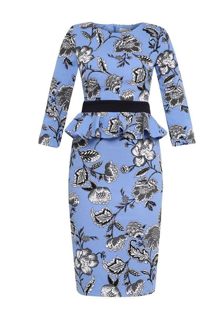 Quarter Goddiva Three Sleeved Dress Blue Floral Print Peplum Floral Midi nExHf0wqq