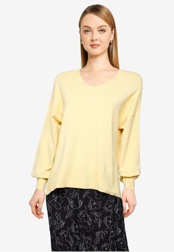 LOWRYS FARM yellow Supima V-Neck Pullover 3E43EAAC7D8526GS_1