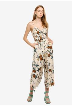 95ea0d3bd5 INDIKAH beige Tie Front Floral Midi Jumpsuit 618BAAA0F12159GS 1
