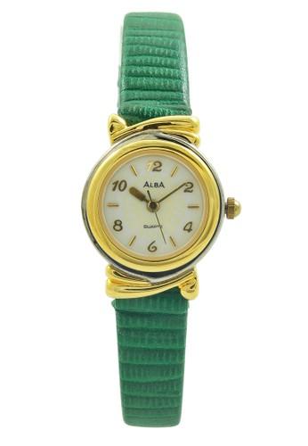 ALBA Jam Tangan Wanita - Green Silver Gold - Leather Strap - ATQL94