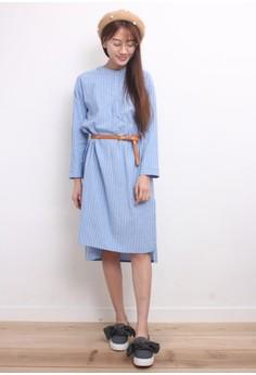 Pinstriped Oversized Shirt Dress