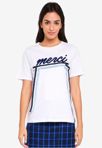 Pieces white and blue Maude Short Sleeve Tee 9464DAAA7AA037GS_1