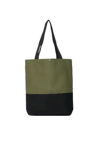 GreyPlus black and green Green Black Basic Tote Bag GR720AC84IWHSG_1
