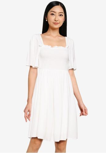 LC Waikiki white Shirring Detailed Viscose Dress F68CFAAC04A971GS_1