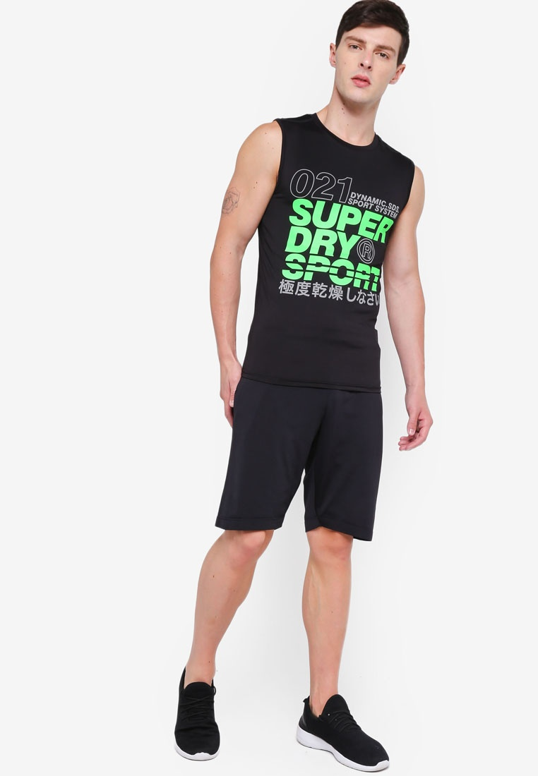 Fluro Black Tank Graphic Green Active Superdry wa1HISxqn6