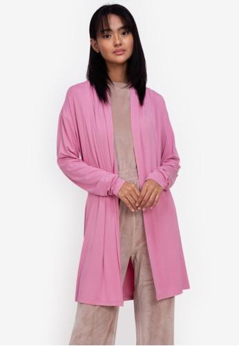 ZALORA BASICS pink Lounge Open Front Wrap Robe 3A3BFAA6D50477GS_1
