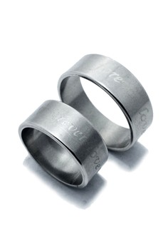 Stainless Steel Couple Ring Forever Love (Wide)