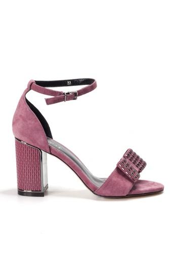 Shu Talk red AMAZTEP Ankle Strap Sandals Blocked Heels A6C14SH90431C9GS_1