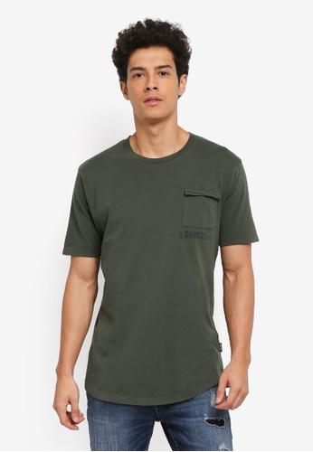 Only & Sons 綠色 短袖口袋T恤 35776AA783EC9BGS_1