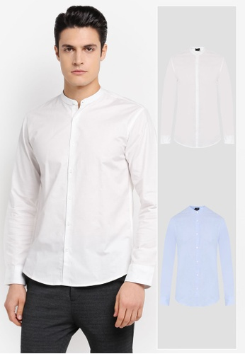 ZALORA white and blue 2 Pack Slim Fit Mandarin Collar Oxford Long Sleeve Shirt ZA819AA0T28ZMY_1