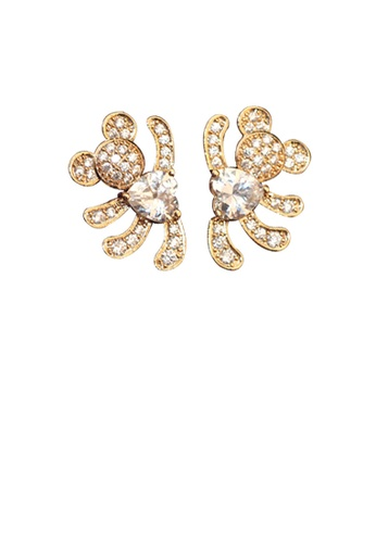 Glamorousky white Plated Rose Gold Bear Earrings with White Austrian Element Crystal E8A56ACD52CE90GS_1