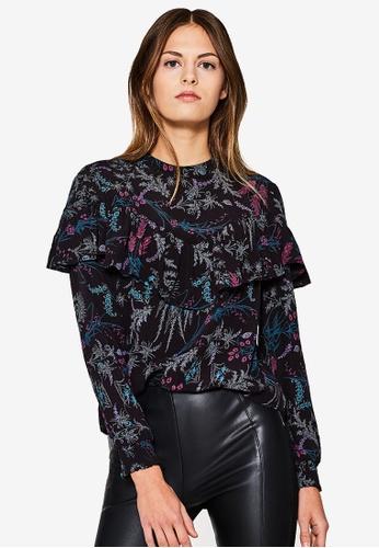 Esprit black Woven Long Sleeve Blouse ES374AA0T156MY_1