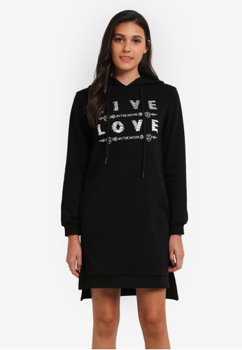 Something Borrowed black Hooded Sweater Dress With Graphic Print B63E5ZZB4CCB5EGS_1
