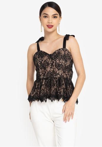 ZALORA OCCASION black Corded Lace Peplum Top A8439AAE87147FGS_1