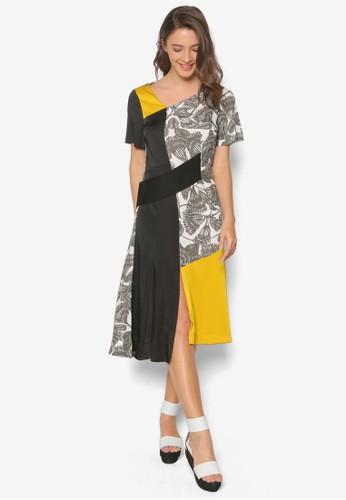 Bratton 色塊印花連身esprit地址裙, 服飾, 洋裝