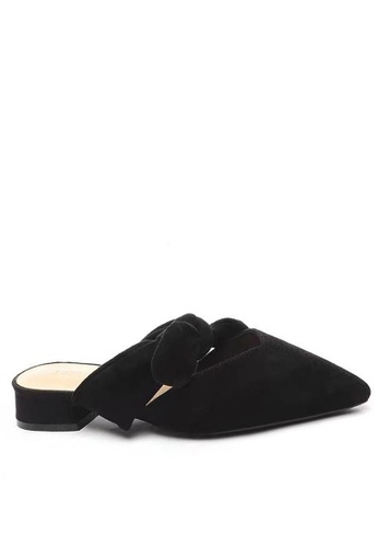 Twenty Eight Shoes 黑色 優質絨面蝴蝶結尖頭拖鞋903-9 2AD33SHB9D6E9EGS_1