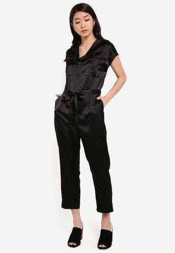ZALORA black Sleek Satin Safari Jumpsuit 2F691ZZ11D0A70GS_1