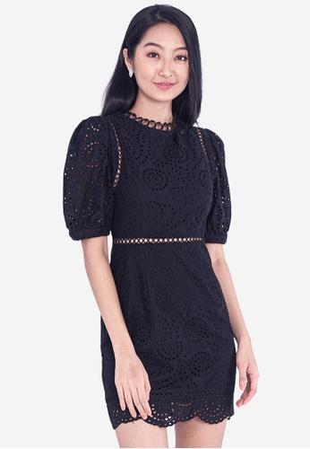 BEBEBEIGE black BebeBeige Round Neck Lantern Short Sleeve Mini Dinner Dress 05B4CAACF2E681GS_1