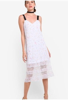 【ZALORA】 Premium 蕾絲拼接背心連身長裙