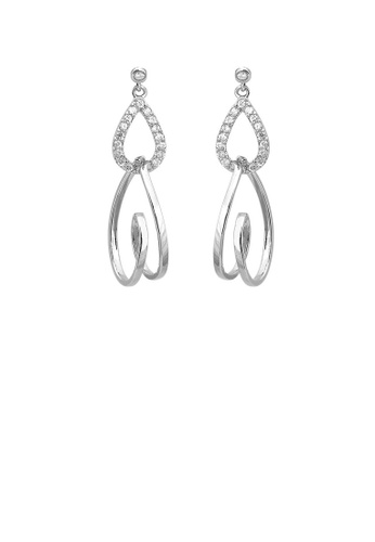 Glamorousky silver Glistering Heart Earrings with Sliver Austrian Element Crystal 359EBACA39FE86GS_1