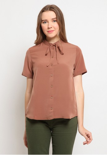 The Executive brown Mandarin Collar Short Sleeve Blouse D5BBBAA329D47FGS_1