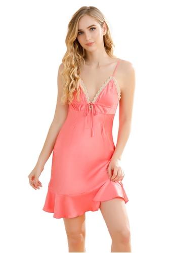 LYCKA pink LCB2133-Lady One Piece Chemise Sleepwear-Pink 70F0BUS0543C4EGS_1