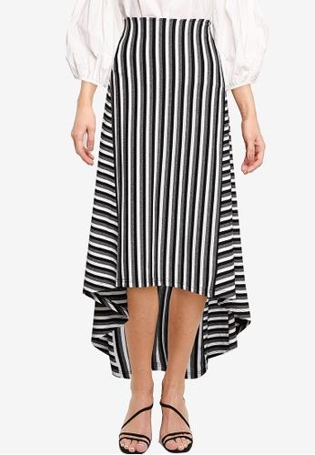 Nichii 灰色 Striped A-Line Skirt B10D3AA8FD39B5GS_1