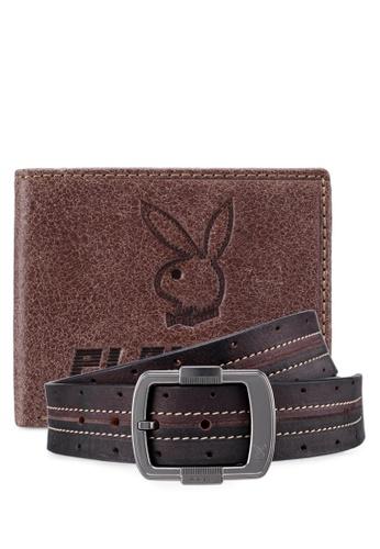 Playboy brown Playboy Belt & Wallet Gift Set 3456FAC014D41EGS_1