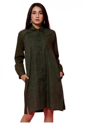 Gina Alana green Gina Alana Seaweed NOIR Long Sleeve Dress D040EAA5FCFE18GS_1